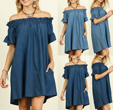 UK Women Off Shoulder Bardot Denim Jeans Ladies Frill Shirt Dress Tops Plus Size