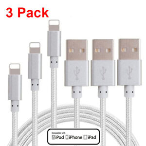 3Pack 3Ft USB Cable Cord Charger For Apple iPhone 11 X 10 8 7 Plus Nylon Braided