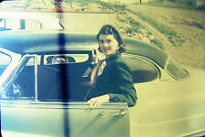 4 Vtg Kodachrome 35mm Slides Pretty Brunette Women Cars Red Border 1951