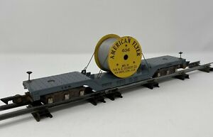 1950s American Flyer #636 Cable Wire Spool Flat Car Erie 7210 PA10359 AC Gilbert