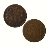 Raw 2 Pack 1865 Two Cent 2C Circulated Plain 5 & Fancy 5 Coin Lot Of 2 US Coins