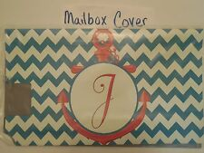 """Magnetic Mailbox Cover Monogram Initial Blue Chevron Anchor """" J """" Only """" J """""""
