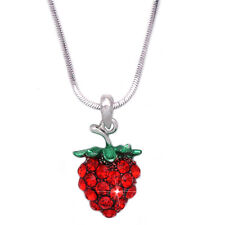 Red Crystal Pave Small Strawberry Fruit Pendant Necklace Women Girl Jewelry