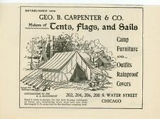 1899 George Carpenter Canvas Dealer Ad Sails Flags Tents Camp Furniture Chicago