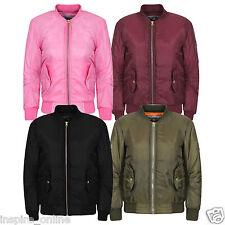 MA1 Kids Children Boys Girls Padded Bomber Jackets Pilot Biker Coat Pockets 2/13