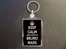 KEEP CALM AND LISTEN TO BRUNO MARS KEYRING GIFT BAG TAG BIRTHDAY GIFT