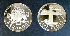 BARBADES 5 CENTS 1975 PROOF