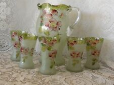 Vintage Frosted Pitcher & Glass Set Vintage Enamel Moriage Gold Dogwood Blossom