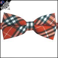 Orange, Black & White Plaid Tartan Bow Tie