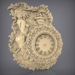 (868) STL Model Clock for CNC Router 3D Printer  Artcam Aspire Bas Relief