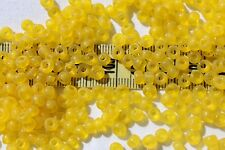5/0 Vin.Vene. Glass Seed Beads Round Trans Med Yellow Matte Crafts Jewelry/1oz