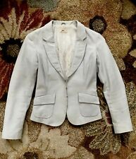 $600 NWOT JUNE LIGHT GRAY/BLUE FITTED LEATHER BLAZER JACKET XS ALL SAINT MASSIMO