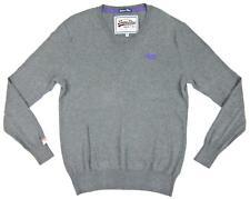 New! Superdry Vintage Orange Label Gray Cashmere Blend Jumper Sweater Sz. Medium