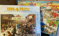 Jigsaw Puzzle-King-Jumbo-1000 Pieces-VE Day-Busy Airport-Comic-Classic-Games