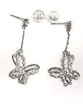 Boucles d'Oreilles en Or 375/1000-Papillon Sertie de Zirconium