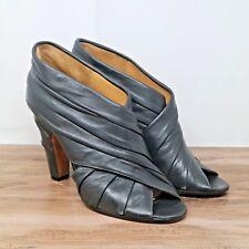 Maison Martin Margiela Womens Black Leather Wrap Open Toe Ankle Booties 9.5 39.5