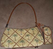 Brown/Green Bamboo/Palm Trees Handbag w/ Small Cell Phone/Lip Stick Pouch