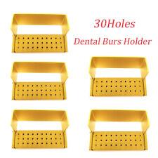 5pcs Dental Burs Holder Block 30 Holes Box Autoclave Gold Aluminum Disinfection
