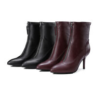 Plus Size New Women Front Zip Ankle Boots Pointed Toe High Heel Leather Booties
