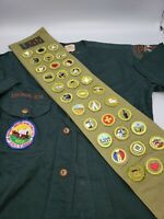 Vtg Boy Scout Sash w 33 Type E Merit Badges w Patches, 1950s w 1953 Shirt. Rare.