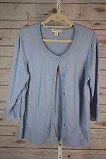 Coldwater Creek Large Blue Soft Silk Cotton Lightweight Cardigan Layering Top