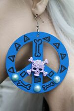 BLUE PEACE SKULL AZTEC VOODOO ROCK DIAMANTE HAND PAINTED GOBBOLINO EARRINGS