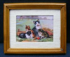 1:12 Scale Framed Picture Print Of 4 Cats Tumdee Dolls House Miniature Art