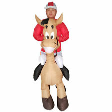 Adults Horse Inflatable Jockey Costume Halloween Cosplay Party Fancy Dress Suits
