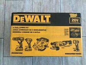 NEW DEWALT 20V MAX CORDLESS Compact 5 Tool Kit WITH CASE DCK521D2 New