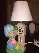 Vintage 1975 Byron Molds Bonnet Girl Ceramic German Narco Clock and Night Lamp