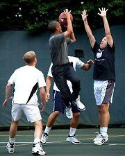 PRESIDENT BARACK OBAMA TAKES SHOT DURING BASKETBALL GAME - 8X10 PHOTO (AA-839)