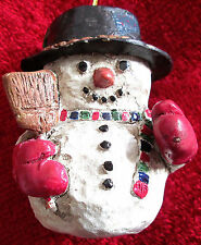 Vintage Collectible Acylic Snow Man Christmas Ornament - Made In The Phillipines