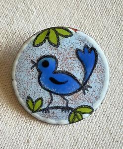 "Vintage Enamel Bird Brooch PIN Chickadee Blue  Branch Round Button 1.5"""