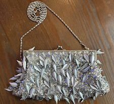 SILVER SEQUIN SHOULDER BAG CHAIN SPARKLY CLUB PARTY GLAM XMAS SUMMER HOT PRETTY
