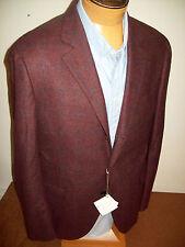 Brunello Cucinelli Wool Blend Burgundy Windowpane Sport Coat NWT $3795 EU 56
