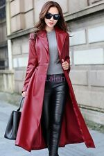 HOT Womens Full Length Long Trench Coat Jacket Outdoor Windbreaker Lapel Leather