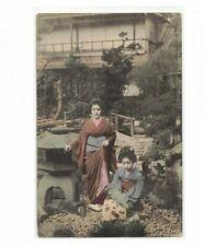 VTG Japanese Girls Dressed In traditional Kimono Garb Postcard Garden Scene