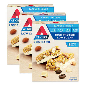 15pc Atkins Low Carb 37g Day Break Protein Bar Healthy Diet Snack Cappuccino Nut