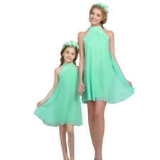 Mommy & Me Family Matching Dress Mother Daughter Chiffon Sundress for Kid Women