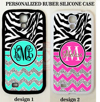 ZEBRA TEAL PINK CHEVRON MONOGRAM PHONE Case For Samsung Galaxy S7 S6 S5 NOTE 5 4