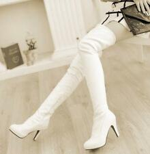 Sexy Women over knee thigh high boots stretchy high block heel Winter Shoes Hot