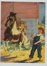 """1930's-40's Print Shetland Pony Boy in Overalls Collie Dog """"pal's Circus"""""""