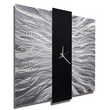 Modern Silver/Black Metal Wall Clock - Contemporary Metal Wall Art by Jon Allen