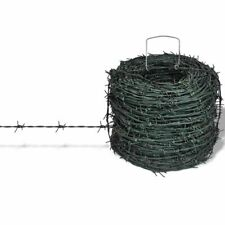 vidaXL Barbed Wire 328' Green Iron Barbwire Garden Patio Fencing Wires Fence
