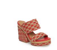Tory Burch NEW Lola 100MM Poppy Orange Woven Jute Platform Sandal $298 Size 8