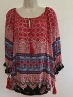 Angie Tunic Top Blouse S Red Black Boho Peasant Style 3/4 Sleeve Tassel Keyhole