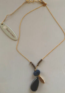 David Aubrey Black And Blue Pendant Necklace New W Tags