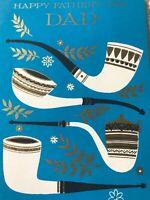 Vintage Fathers Day Card Smoking Pipe Mid Century Modern Hallmark Blue