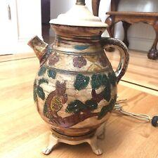 Antique Italian Majolica Pottery Lamp Monkey Owl Design