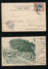 JAMAICA 1904 EARLY PPC RAILCAR + BUSY MARKET SCENE...USED to GERMANY